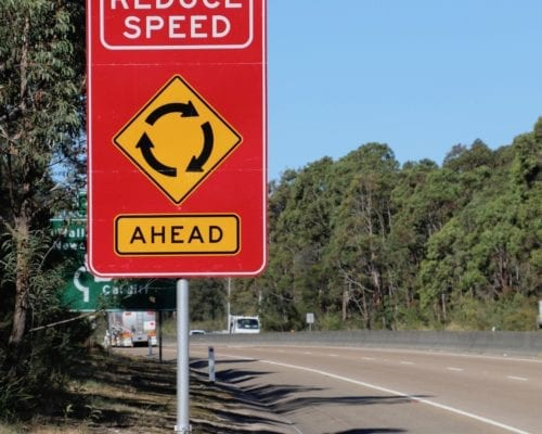 89OD Aluminium Frangible Pole for reduce speed sign, RMS Waratah, Newcastle NSW