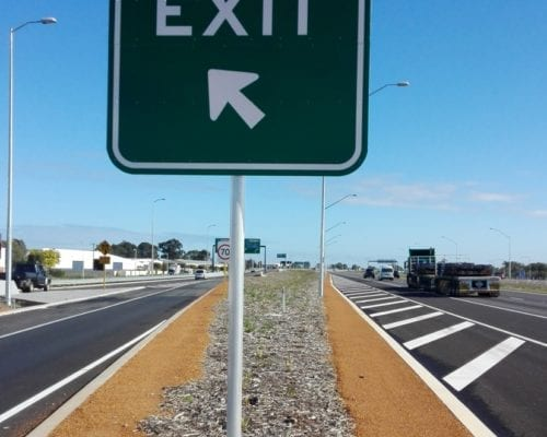 89OD Aluminium Frangible Pole for GE2-3 exit sign, Tonkin Highway, Perth WA